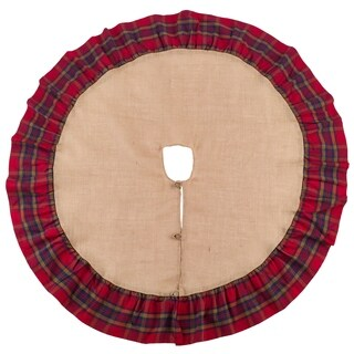 Glendora Collection Plaid Ruffle Design Jute Tree Skirt