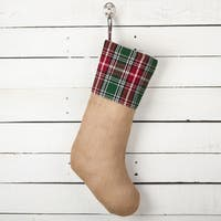 Edinburgh Collection Plaid Design Decorative Jute Christmas Stocking
