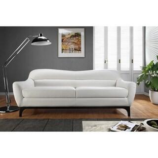 Wollo White Full Leather Mid Century Sofa