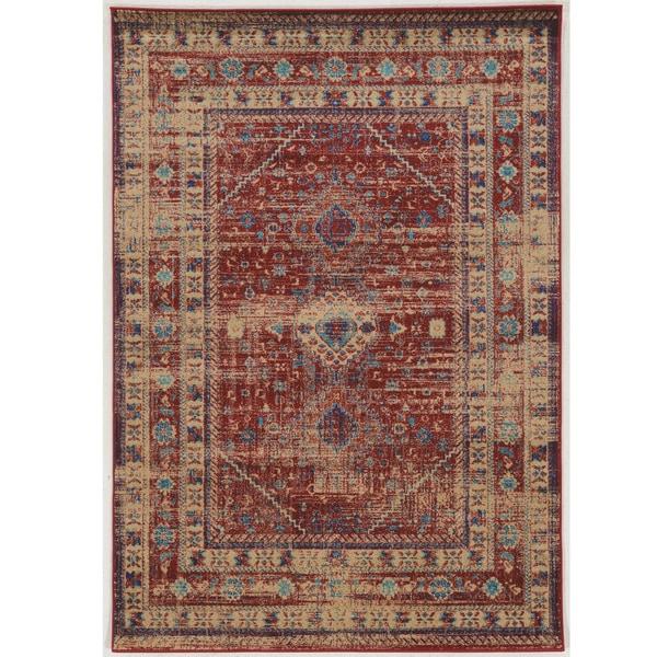 Serape Collection Goravan Red/ Multi Rug (2' x 3')