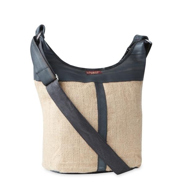 Handmade Burlap And Tire Shoulder Bag Nepal