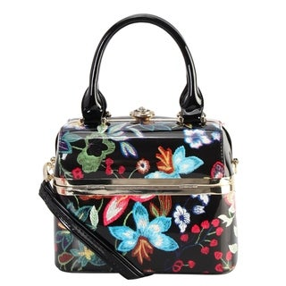Diophy Shiny Patent PU Leather Floral Embroidered Pattern Small Box Style Top Handle Handbag