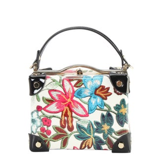 Diophy Shiny Patent PU Leather Floral Embroidered Pattern Small Box Style Double Top Handle Handbag
