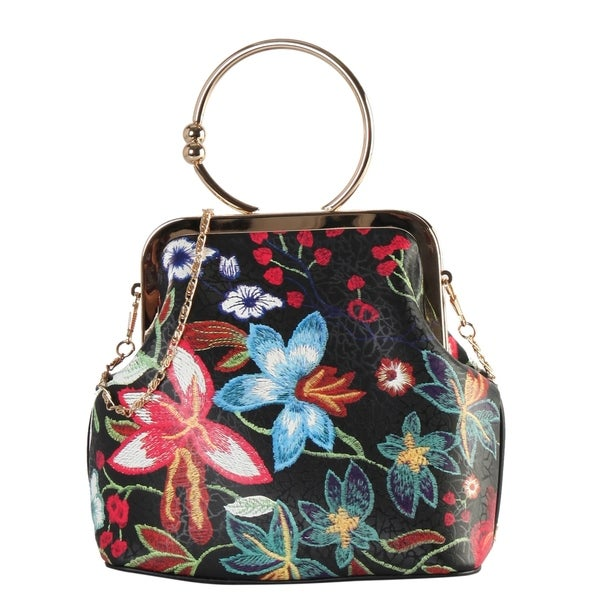 Diophy Floral Embroidered Pattern Small Metal Ring Top Handle Handbag
