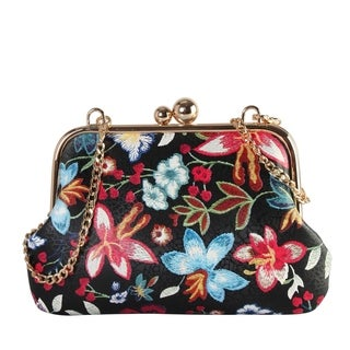Diophy Floral Embroidered Printed Pattern Small Kiss Lock Handbag (Option: White)