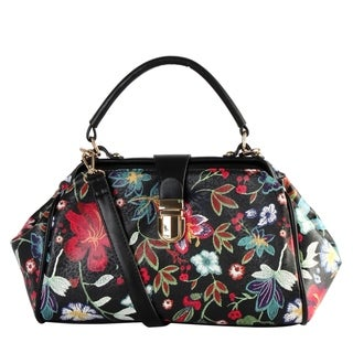 Diophy PU Leather Floral Embroidered Pattern Large Doctors style Top Handle Handbag