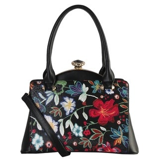 Diophy PU Leather Floral Embroidered Printed Pattern Multi Spaced Large Doctors style Handbag