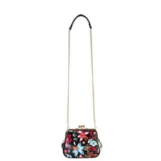 Diophy Floral Embroidered Pattern Small Kiss Lock Cross Body Handbag