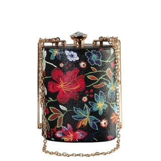Diophy Floral Embroidered Pattern Top Crystal Small Bucket Style Handbag