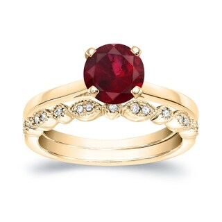 Auriya 14k Gold Stackable Vintage 7/8ct Red Ruby Solitaire and 1/7ct. TDW Diamond Engagement Ring Set