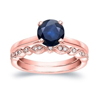 Auriya Vintage Stackable 7/8ct Solitaire Blue Sapphire and 1/6ct Diamond Engagement Ring Set 14k Gold