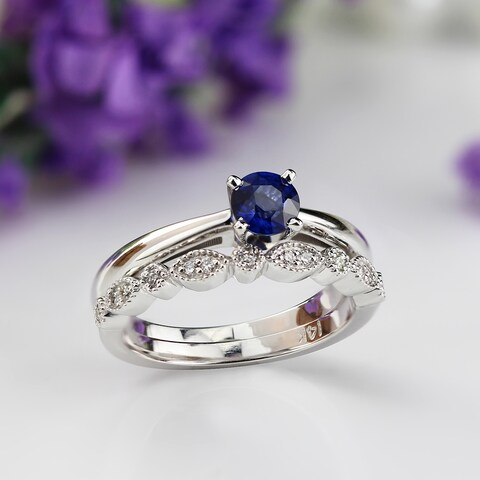 Auriya 14k Gold Stackable Vintage 1/3ct Blue Sapphire and Solitaire Diamond Engagement Ring Set