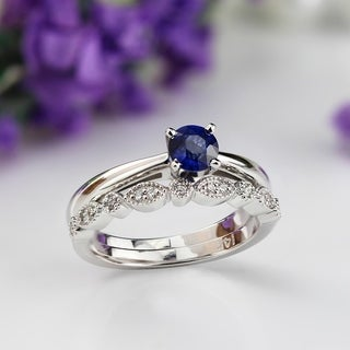 Auriya 14k Gold 1/3ct Blue Sapphire Gemstone and Diamond Vintage Stacked Engagement Ring Set