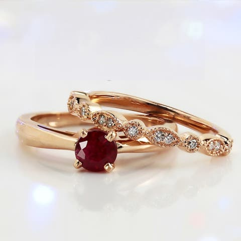 Auriya 1/2ct Solitaire Red Ruby Engagement Ring Set 1/6ctw 14k Gold Vintage Stackable