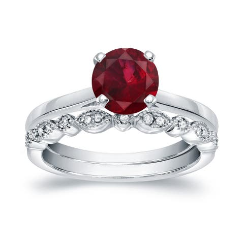 Auriya 3/4ct Solitaire Red Ruby Engagement Ring Set 1/6ctw 14k Gold Vintage Stackable