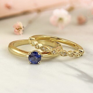 Auriya 14k Gold Stackable Vintage 1/2ct Blue Sapphire Solitaire and 1/6ct Diamond Engagement Ring Set