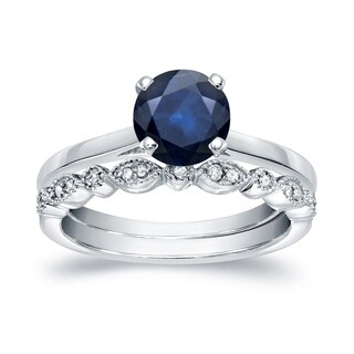 14k Gold 3/4ct Vintage Stackable Solitaire Blue Sapphire and Diamond Engagement Ring Set by Auriya