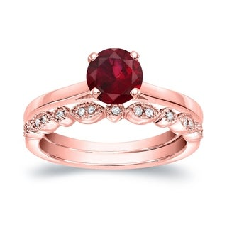 Auriya 14k Gold 5/8ct Red Ruby and 1/6ct TDW Vintage-Inspired Diamond Engagement Ring Set