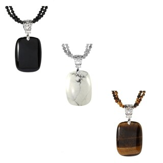 """Sterling Silver with Natural Two Row Facted Choice of Gemstone Pendant 18"""" Necklace"""