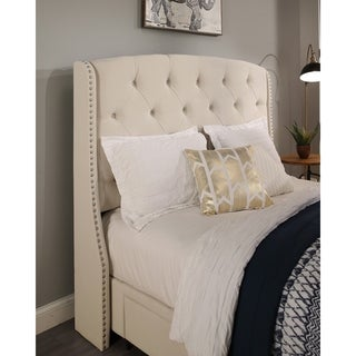 Republic Design House Peyton Ivory or Grey Tufted Upholstered Wingback Headboard