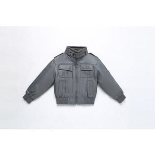 Kid's Leather Bomber Jacket