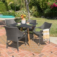Vernal Outdoor 5-Piece Square Wicker Tempered Glass Dining Set by Christopher Knight Home