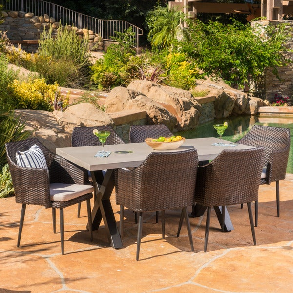 Macy Outdoor 7-Piece Rectangle Wicker Light Weight Concrete Dining Set with Cushions by Christopher Knight Home