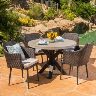 Nyla Outdoor 5-Piece Round Wicker Light Weight Concrete Dining Set with Cushions by Christopher Knight Home