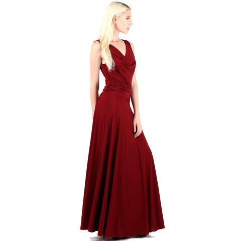 Evanese Women's Sexy Classic Cowlneck Long Gown Sleeveless Dress