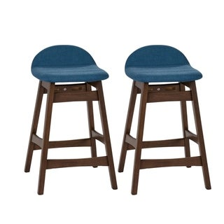Space Savers Modern Upholstered 24 Inch Counter Height Barstool (Set of 2)