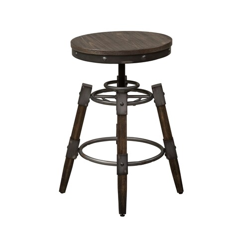 Pineville Charcoal Saw Mark Distressed Adjustable Barstool