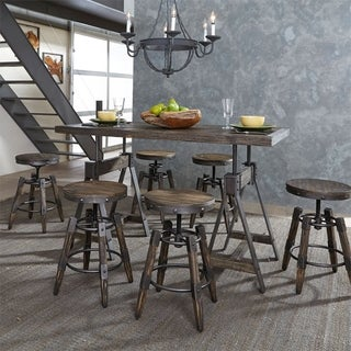 Liberty Pineville Charcoal-finish Wood/Metal Saw-mark Distressed Adjustable 7-piece Dinette Set