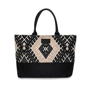 Women's Jacquard Fabric Tote Bag (Black) - black