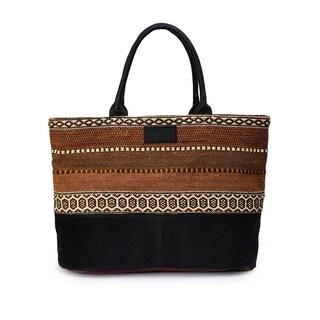 Women's Jacquard Fabric Tote Bag (Brown) - brown