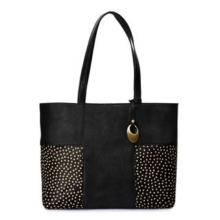 Women's Leather Tote Bag (Black) - black
