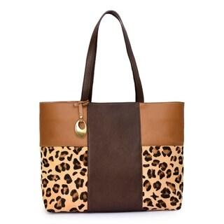 Women's Leather Tote Bag (Tan) - TAN