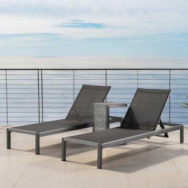 Shop Cape Coral Outdoor Aluminum 3 Piece Chaise Lounge Set