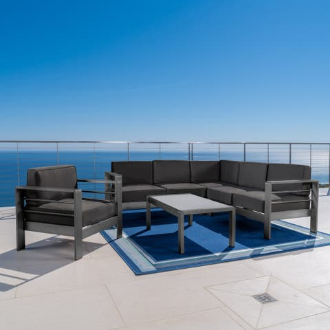 Cape Coral Outdoor Aluminum Tempered Glass 5-piece V-Shape Sectional Sofa Set with Cushions by Christopher Knight Home