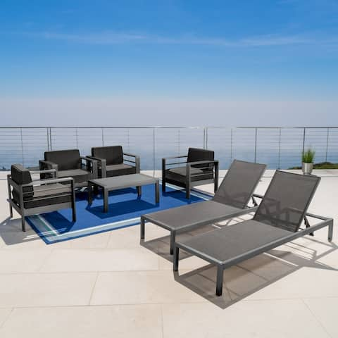 Cape Coral Outdoor Aluminum Tempered Glass 7-piece Chat Set with Cushions by Christopher Knight Home