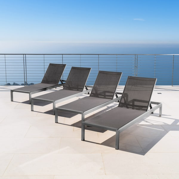 Cape Coral Outdoor Aluminum Chaise Lounge (Set of 4) by Christopher Knight Home : aluminum chaise lounge - Sectionals, Sofas & Couches