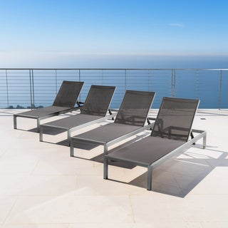 Cape Coral Outdoor Aluminum Chaise Lounge (Set of 4) by Christopher Knight Home