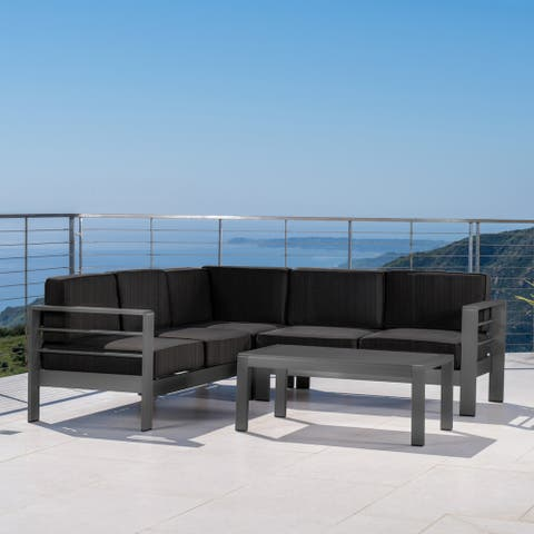 Cape Coral Outdoor Aluminum 4-piece Sectional Sofa Set with Cushions by Christopher Knight Home