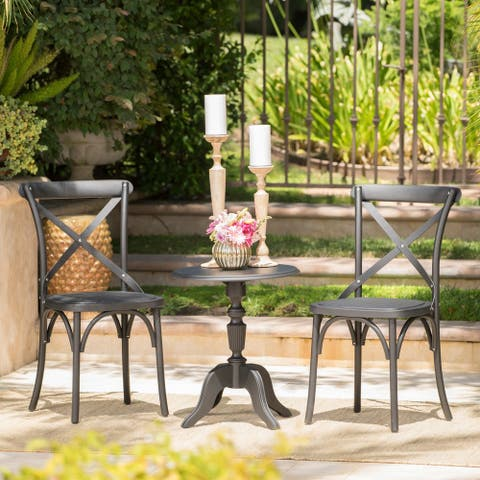 Danish Outdoor Farmhouse 3-piece Bistro Chat Set by Christopher Knight Home