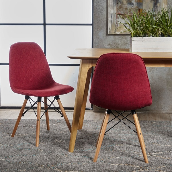 Nellie Mid Century Modern Fabric Eiffel Dining Chair (Set Of 2) By  Christopher