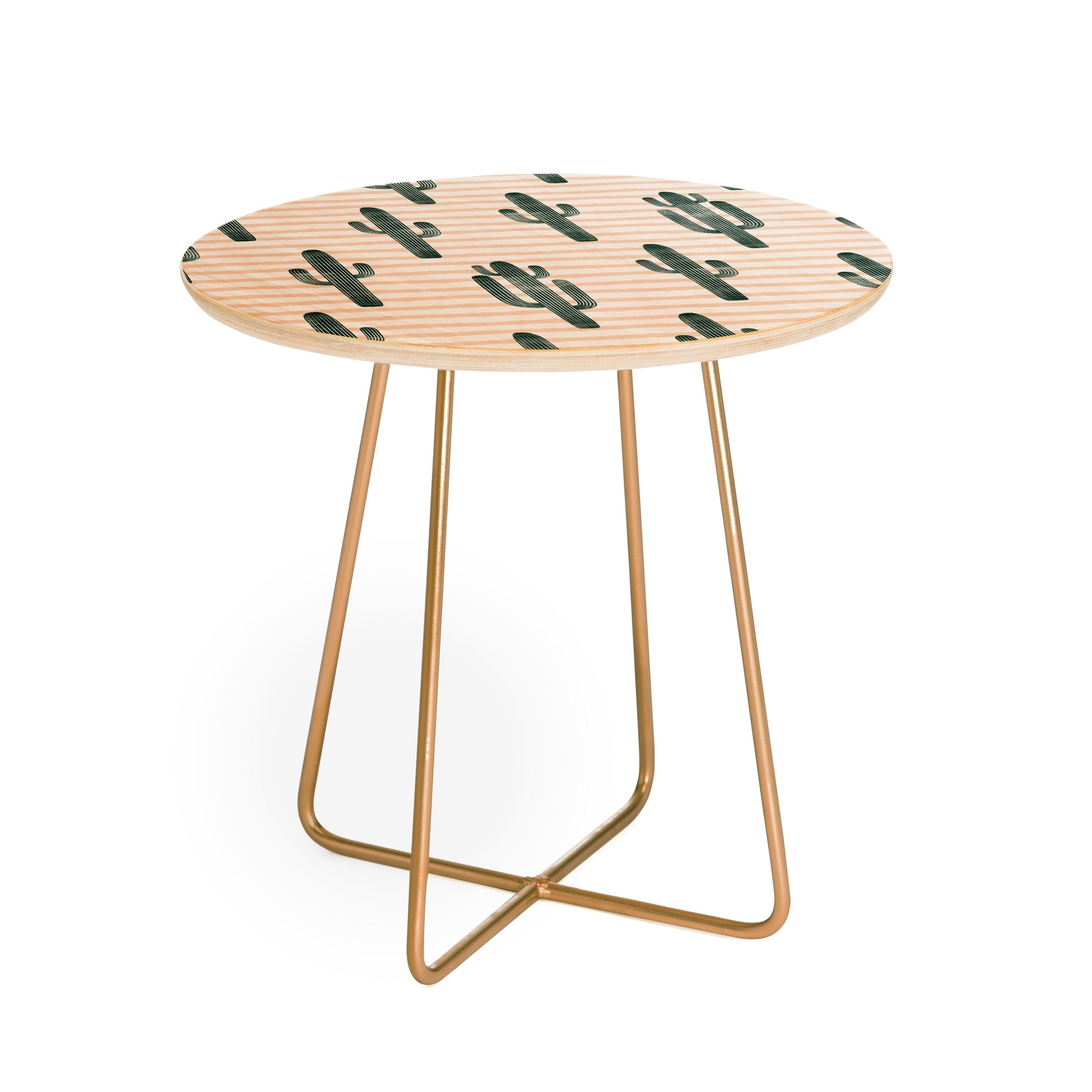 Little Arrow Design Co Modern Jungle Cactus Round Side Table