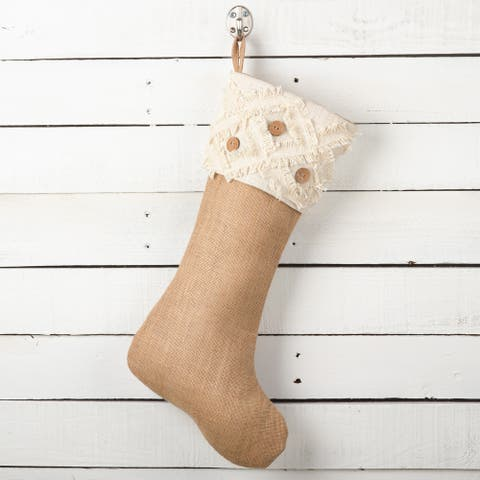 Fringe Button Design Decorative Jute Christmas Stocking