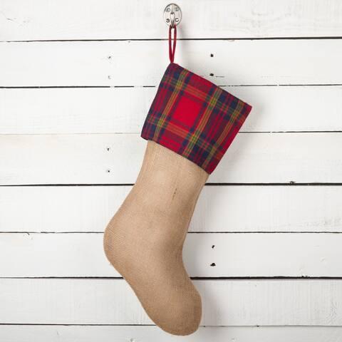 Glendora Collection Plaid Design Decorative Jute Christmas Stocking
