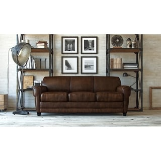 Havana Traditional Parisian-style Brown Full Top Grain Leather Sofa