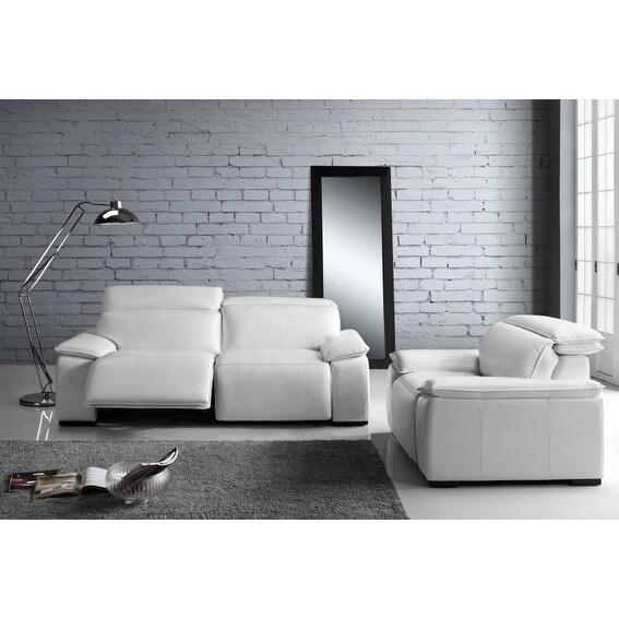 Yorbita Pure White Full Top-grain Leather Motorized Chair