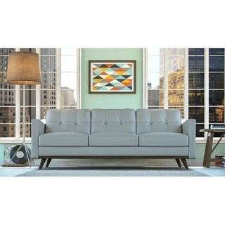 Moroni Monika Mid-century Grey Italian Full Leather, Wood, Foam, and Elastic Pirelli Tufted Sofa